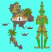 Map with Thailand symbol, marble Temple Benchamabophit, Guardian Giant Yaksha, Buddhist stupa - chedi, Traditional long-tail boat, Thai taxi vehicle Tuk Tuk, sculpture of Buddha poster