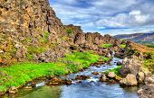 Water in a fissure between tectonic plates in the Thingvellir National Park - Iceland poster