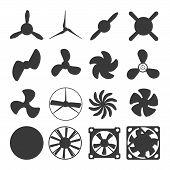 Turbines icons propeller fan rotation technology equipment. Fan blade, wind ventilator propeller fan equipment generator. Vector illustration propeller fan vector electric industrial ventilators. poster