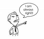 Egotist, Arrogant, and Stubborn Boss Doodle. A hand drawn vector cartoon illustration of a boss with bad attitude. poster