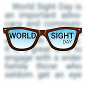 World Sight Day background. Vector illustration with glasses. Fighting blindness cataract glaucoma vision impairment. Eye health concept.  poster