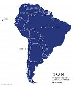 USAN, Union of South American Nations map, an intergovernmental regional organization comprising twelve South American countries. Continental union, also called UNASUR, UNASUL or UZAN. Info graphics. poster