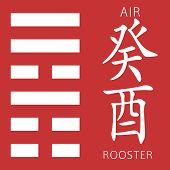 Symbol of i ching hexagram from chinese hieroglyphs. Translation of 12 zodiac feng shui signs hieroglyphs- air and rooster. poster