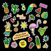Fashion patch badges. Tropical set. Stickers, pins, patches and handwritten notes collection in cartoon 80s-90s comic style. Trend. Vector illustration isolated. Vector clip art. poster