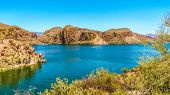 Canyon Lake and the Desert Landscape of Tonto National Forest along the Apache Trail in Arizona, USA poster