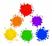 Primary and secondary colors in paint splatter isolated over white background poster