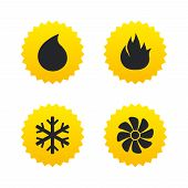 HVAC icons. Heating, ventilating and air conditioning symbols. Water supply. Climate control technology signs. Yellow stars labels with flat icons. Vector poster