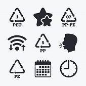 PET 1, PP-pe 07, PP 5 and PE icons. High-density Polyethylene terephthalate sign. Recycling symbol. Wifi internet, favorite stars, calendar and clock. Talking head. Vector poster