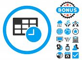 Date and Time icon with bonus symbols. Vector illustration style is flat iconic bicolor symbols, blue and gray colors, white background. poster