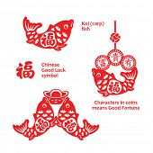 Chinese New Year koi fish papercut ornaments poster