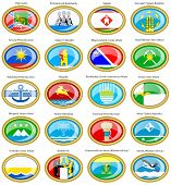 Set of icons. Flags of the Russian cities (Far Eastern Federal District). poster