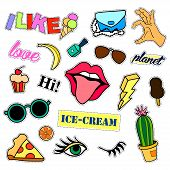 Fashion patch badges. Big set. Stickers, pins, embroidery, patches and handwritten notes collection in cartoon 80s-90s comic style. Trend. Vector illustration isolated. Vector clip art. poster