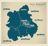 Modern Map - West Midlands UK vector poster