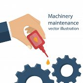 Machinery maintenance. Repair of equipment. Worker man holding the oiler in hand the lubricating mechanism. Vector illustration flat design. poster