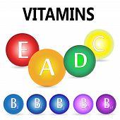 Vitamins. Ascorbic acid (vitamin C), Retinol (vitamin A), Cholecalciferol (vitamin D3), Tocopherols (vitamin E) and vitamins B complex poster