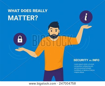 What Does Really Matter. Young Man Comparing Information Security And Public Access To Information A