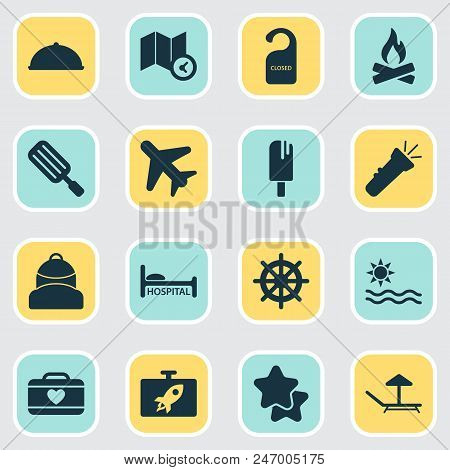 Tourism Icons Set With Ice Cream, Suitcase Female, Airplane In The Sky And Other Campfire Elements.