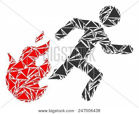 Fired Running Man Mosaic Of Triangle Elements In Different Sizes And Shapes. Vector Triangles Are Co