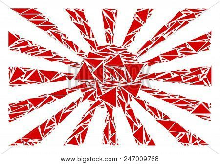 Japanese Rising Sun Collage Of Triangle Items In Different Sizes And Shapes. Vector Triangles Are Co