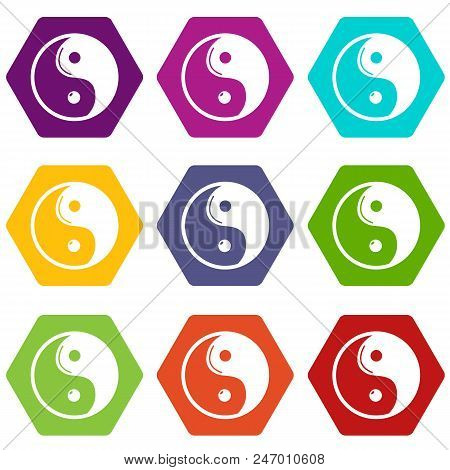 Yin yang symbol taoism icons 9 set coloful isolated on white for web poster