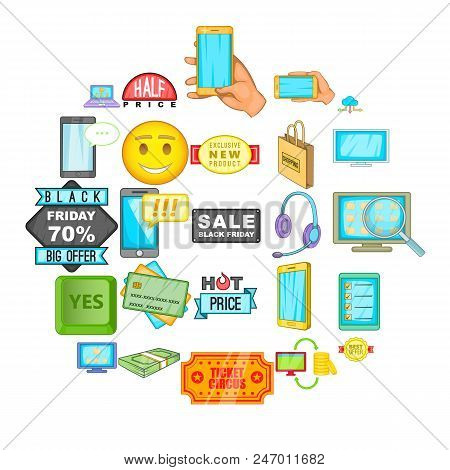 Electronic Commerce Icons Set. Cartoon Set Of 25 Electronic Commerce Vector Icons For Web Isolated O