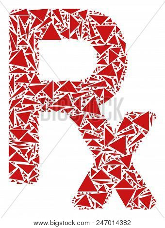 Rx Symbol Collage Of Triangle Items In Different Sizes And Shapes. Vector Polygons Are Arranged Into