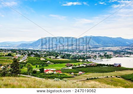 Aerial View Of Kelowna Vineyards And Okanagan Lake