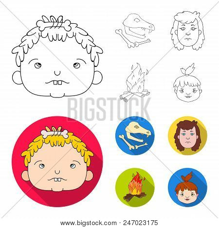 Woman, Hair, Face, Bonfire .stone Age Set Collection Icons In Outline, Flat Style Vector Symbol Stoc