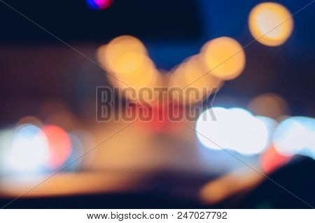 Abstract Blurred Image Of Night Light With Bokeh.