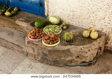 African Fruits In Unsanitary Conditions At African Market