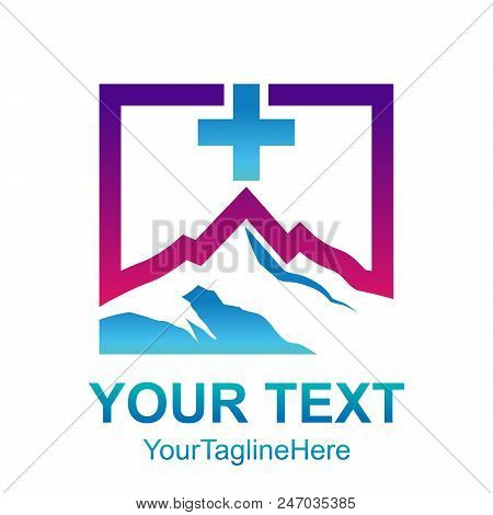 Square - Mountain Inside Square Shape With Cross Or Plus Icon Vector Logo Concept Illustration.  Squ