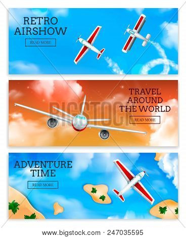Retro Airshow And Travel Agency Airlines Advertisement 3 Realistic Horizontal Banners With Flying Ai