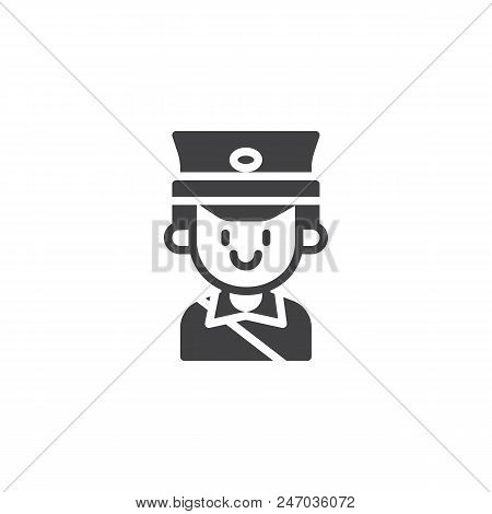 Postman Portrait Vector Icon. Filled Flat Sign For Mobile Concept And Web Design. Mailman Person Sim