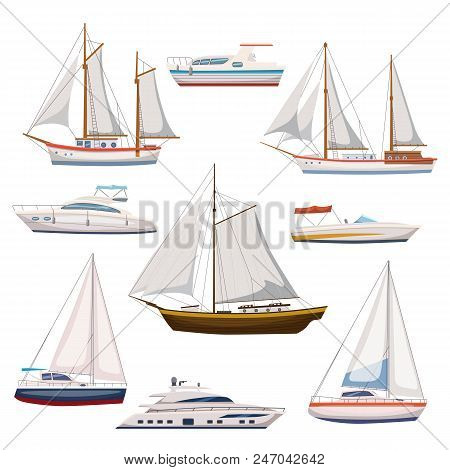 Super Set Of Water Carriage And Maritime Transport In Modern Flat Design Style. Ship, Boat, Vessel,