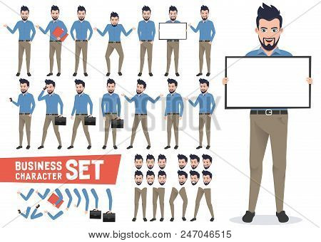 Business Characters Vector Set With Professional Businessman Wearing Office Attire Holding White Boa