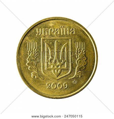 50 Ukrainian Kopiyka Coin (2009) Reverse Isolated On White Background