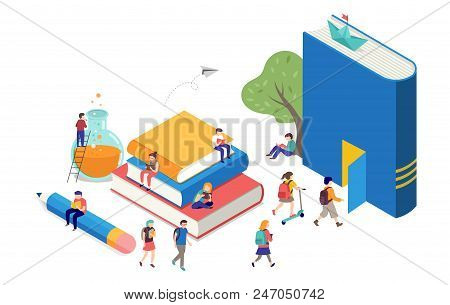 Back To School, Books, Education And Research Concept. College And University Scene With Children, S