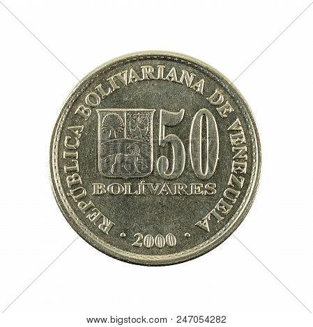 50 Venezuelan Bolivar Coin (2000) Obverse Isolated On White Background