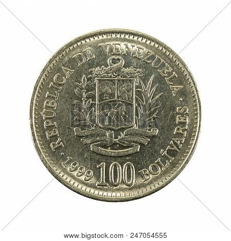 100 Venezuelan Bolivar Coin (1999) Obverse Isolated On White Background