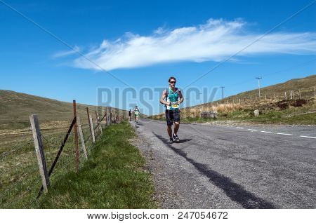 Newcastle, 8th May 2013: A Man Running In The Mourne Way Marathon