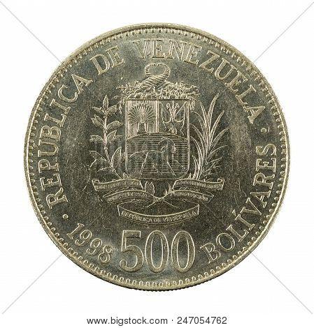 500 Venezuelan Bolivar Coin (1998) Obverse Isolated On White Background