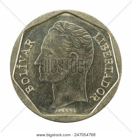 500 Venezuelan Bolivar Coin (1998) Reverse Isolated On White Background