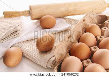Fresh farm eggs on table