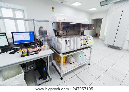 St-petersburg, Russia - April 6, 2018: Clinical Lab Equipment. Phadia 250 - An Automatic Blood Sampl