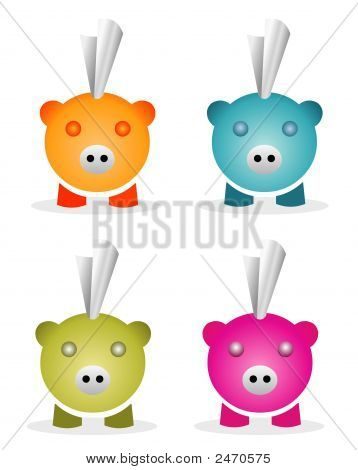 Piggy Bank Icon Set
