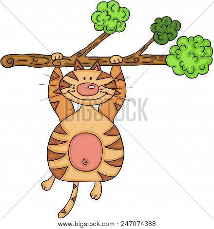 Scalable Vectorial Representing A Cunning Cat Hanging On A Tree Branch, Element For Design, Illustra