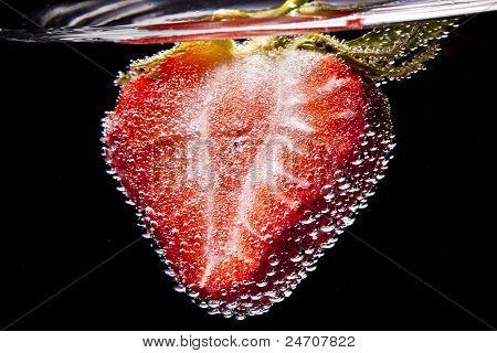 Strawberry cut in half like Heart shape in Lemonade bubble