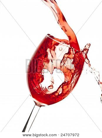 Pouring Cranberry juice in Wine glass