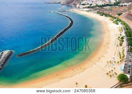 Aerial Birdeye View Of Las Teresitas Picturesque Beach, Tenerife Island, Canarias, Spain