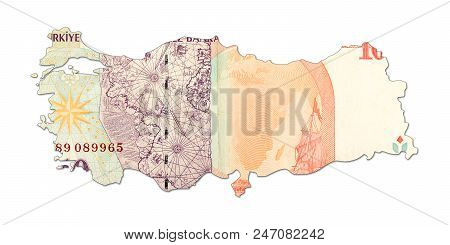 10 Turkish Lira Bank Note In Shape Of Turkey
